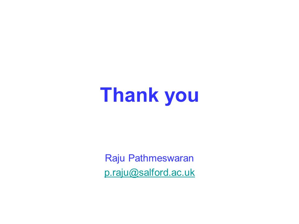 Thank you Raju Pathmeswaran p.raju@salford.ac.uk