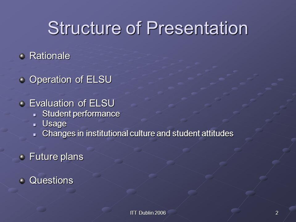 2ITT Dublin 2006 Structure of Presentation Rationale Operation of ELSU Evaluation of ELSU Student performance Student performance Usage Usage Changes