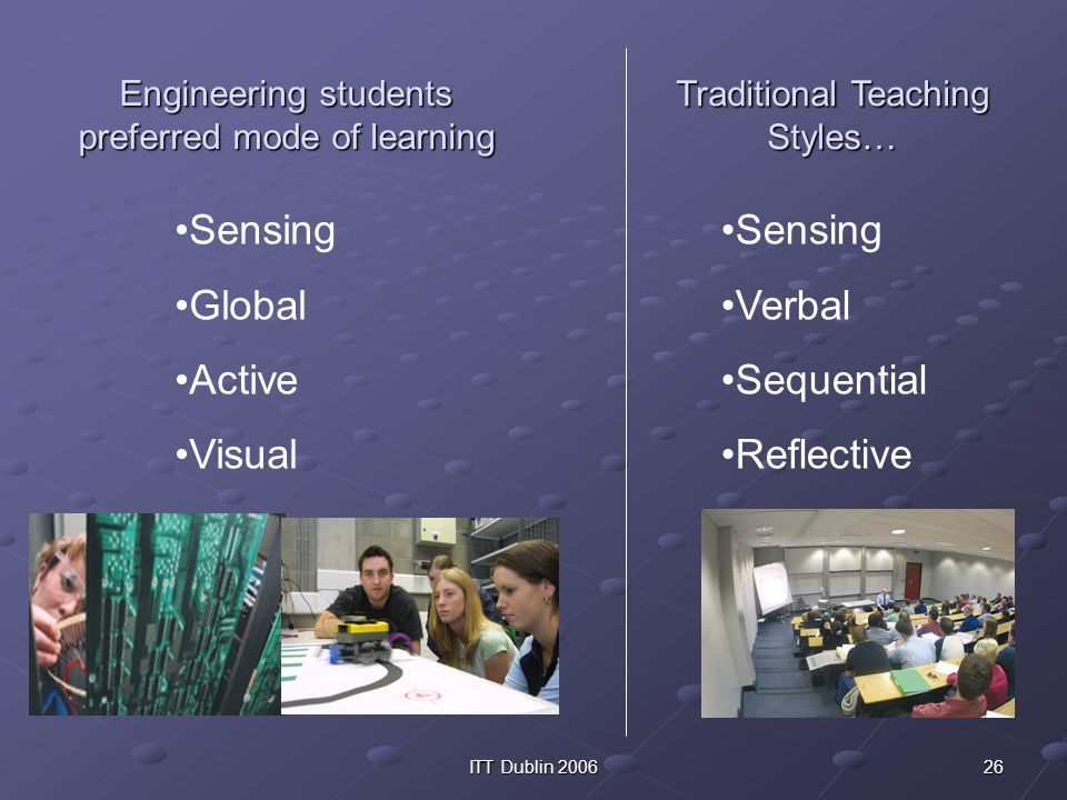 26ITT Dublin 2006 Engineering students preferred mode of learning Sensing Global Active Visual Sensing Verbal Sequential Reflective Traditional Teachi