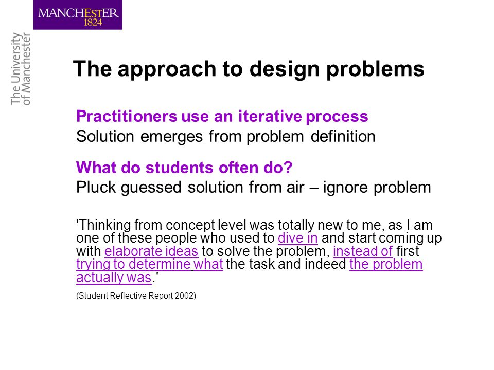The approach to design problems Practitioners use an iterative process Solution emerges from problem definition What do students often do.