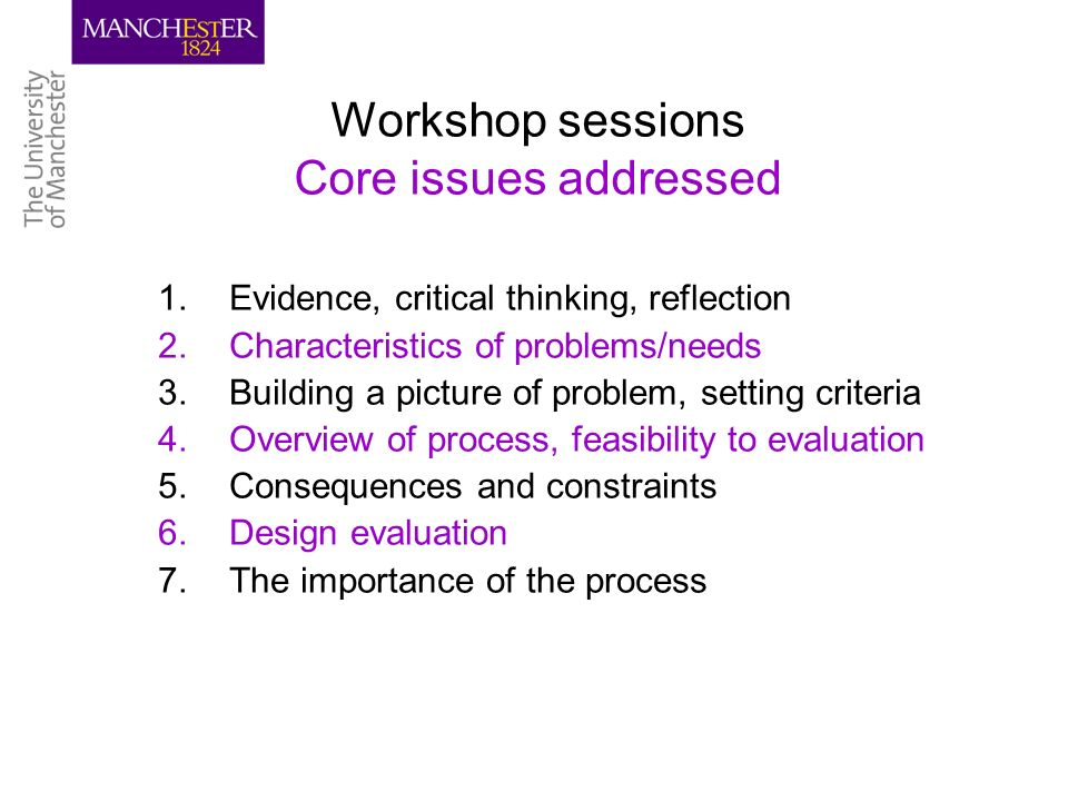Workshop sessions Core issues addressed 1.Evidence, critical thinking, reflection 2.Characteristics of problems/needs 3.Building a picture of problem, setting criteria 4.Overview of process, feasibility to evaluation 5.Consequences and constraints 6.Design evaluation 7.The importance of the process