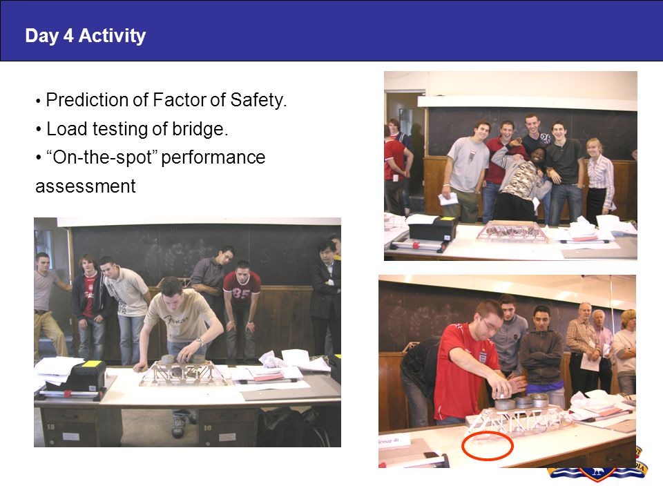 Prediction of Factor of Safety. Load testing of bridge. On-the-spot performance assessment Day 4 Activity