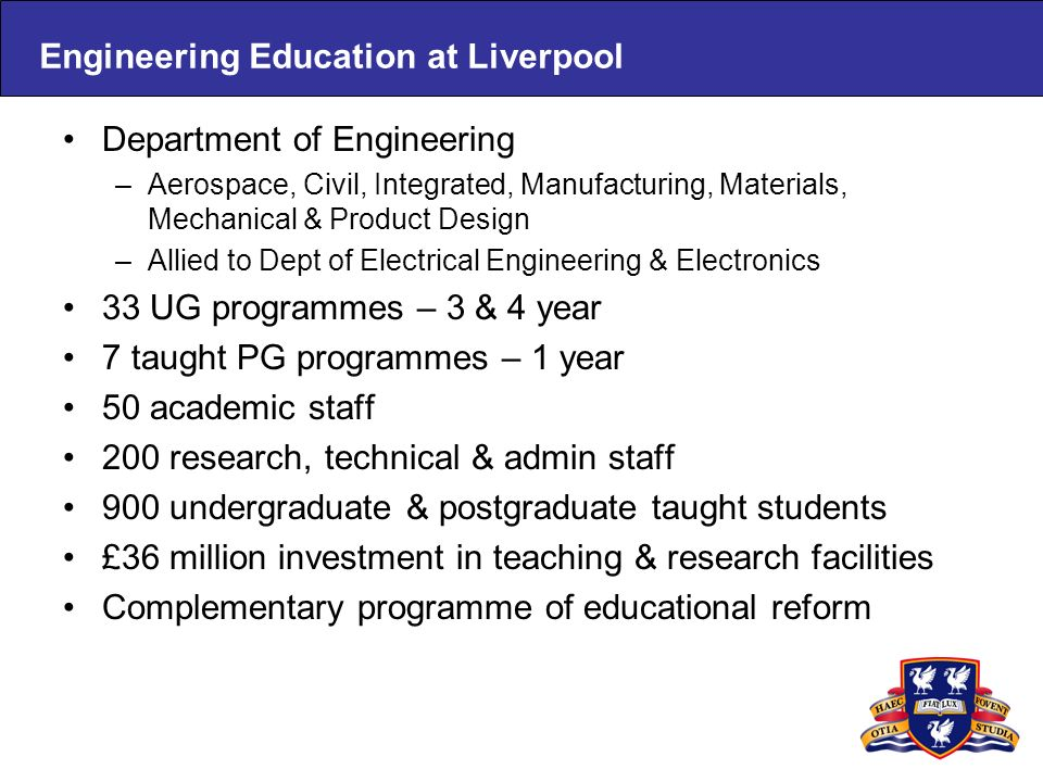 Engineering Education at Liverpool Department of Engineering –Aerospace, Civil, Integrated, Manufacturing, Materials, Mechanical & Product Design –All