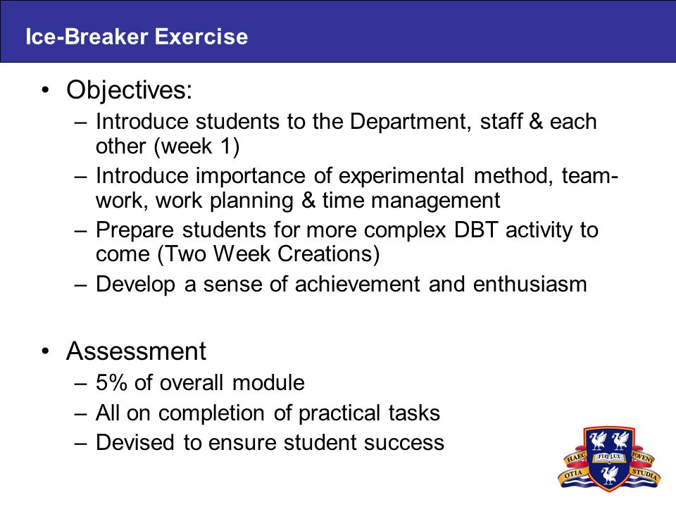 Ice-Breaker Exercise Objectives: –Introduce students to the Department, staff & each other (week 1) –Introduce importance of experimental method, team- work, work planning & time management –Prepare students for more complex DBT activity to come (Two Week Creations) –Develop a sense of achievement and enthusiasm Assessment –5% of overall module –All on completion of practical tasks –Devised to ensure student success