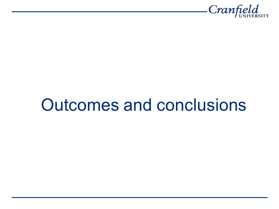 Outcomes and conclusions