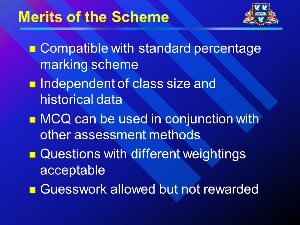 Merits of the Scheme Compatible with standard percentage marking scheme Independent of class size and historical data MCQ can be used in conjunction with other assessment methods Questions with different weightings acceptable Guesswork allowed but not rewarded