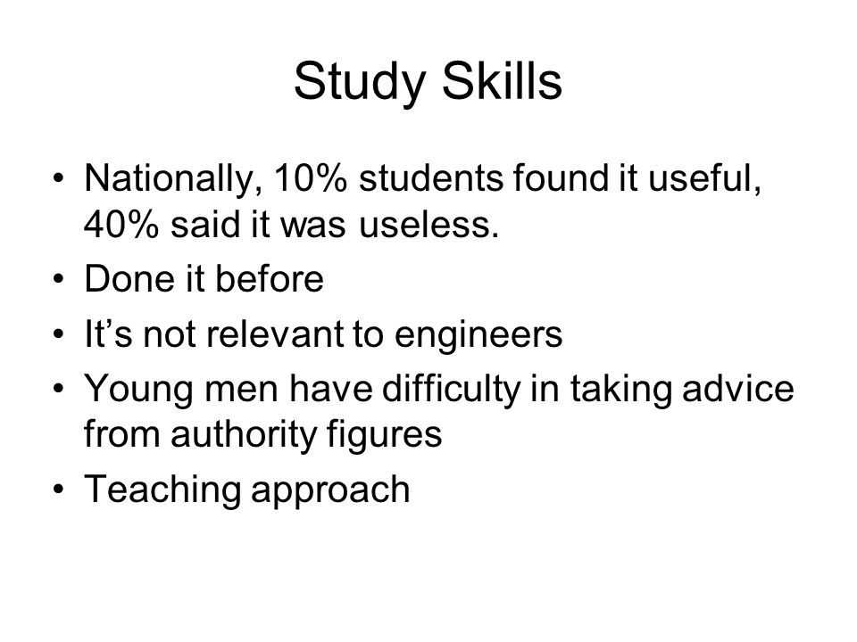 Study Skills Nationally, 10% students found it useful, 40% said it was useless.