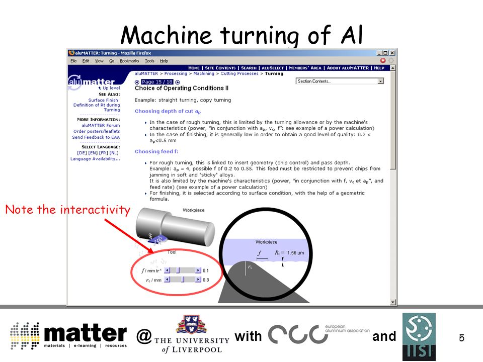 @ with and 5 Machine turning of Al Note the interactivity