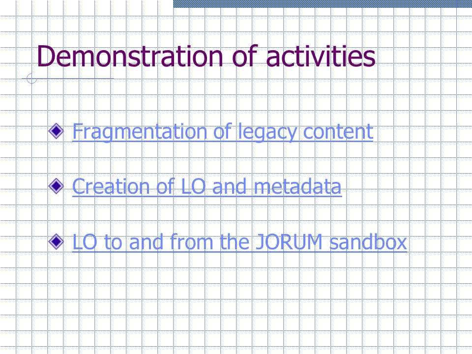 Demonstration of activities Fragmentation of legacy content Creation of LO and metadata LO to and from the JORUM sandbox