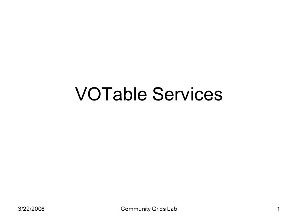 3/22/2006Community Grids Lab1 VOTable Services