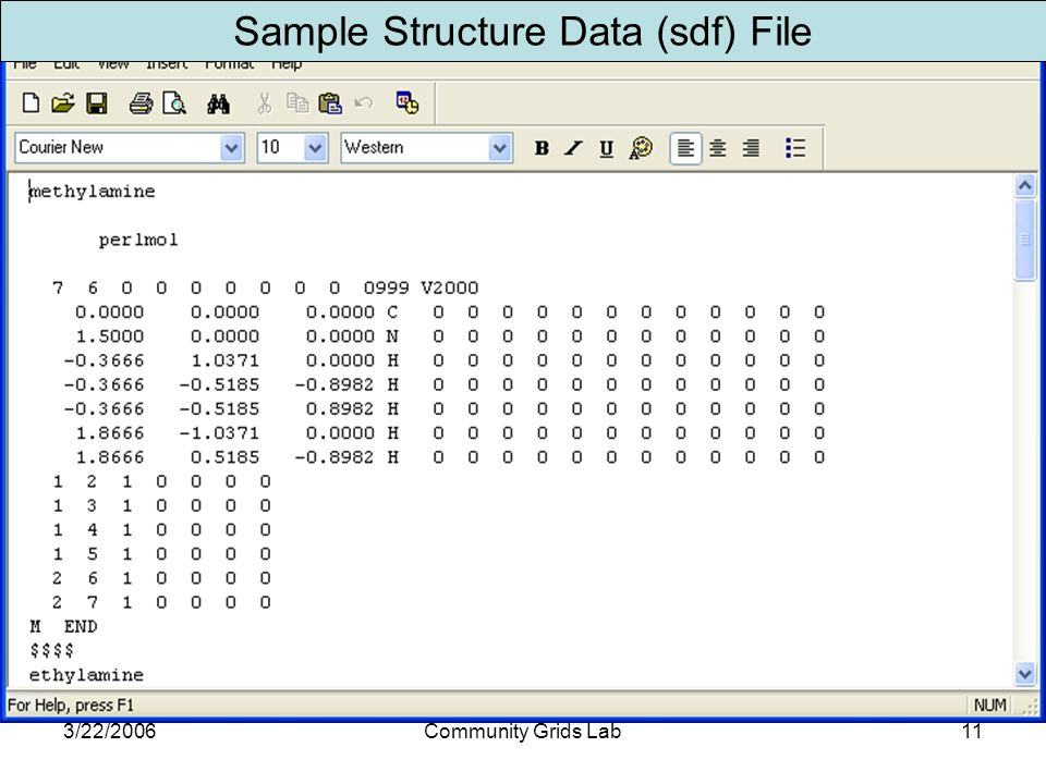 3/22/2006Community Grids Lab11 Sample Structure Data (sdf) File
