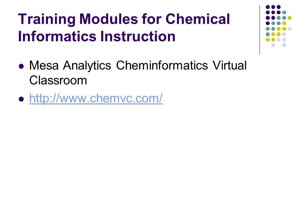 Training Modules for Chemical Informatics Instruction Mesa Analytics Cheminformatics Virtual Classroom http://www.chemvc.com/