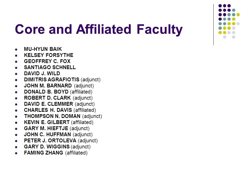 Core and Affiliated Faculty MU-HYUN BAIK KELSEY FORSYTHE GEOFFREY C.
