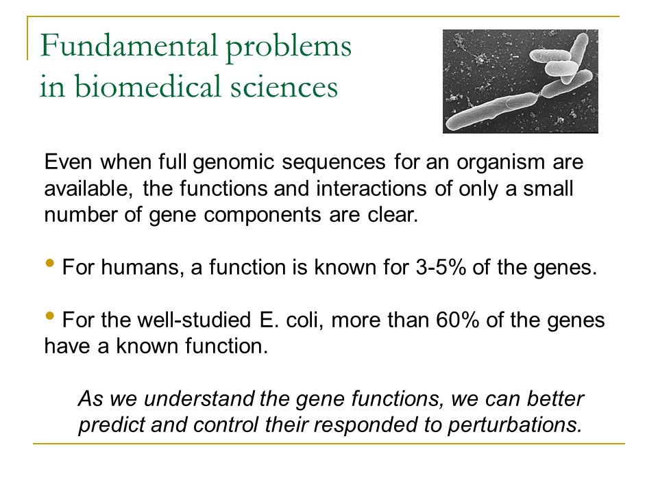 Fundamental problems in biomedical sciences Even when full genomic sequences for an organism are available, the functions and interactions of only a s