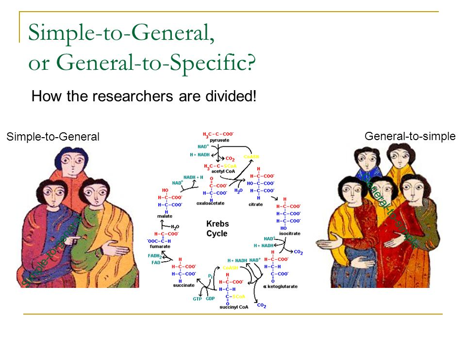 Simple-to-General, or General-to-Specific? Simple-to-General General-to-simple Simple-to-general How the researchers are divided!