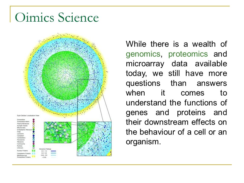 Oimics Science While there is a wealth of genomics, proteomics and microarray data available today, we still have more questions than answers when it comes to understand the functions of genes and proteins and their downstream effects on the behaviour of a cell or an organism.