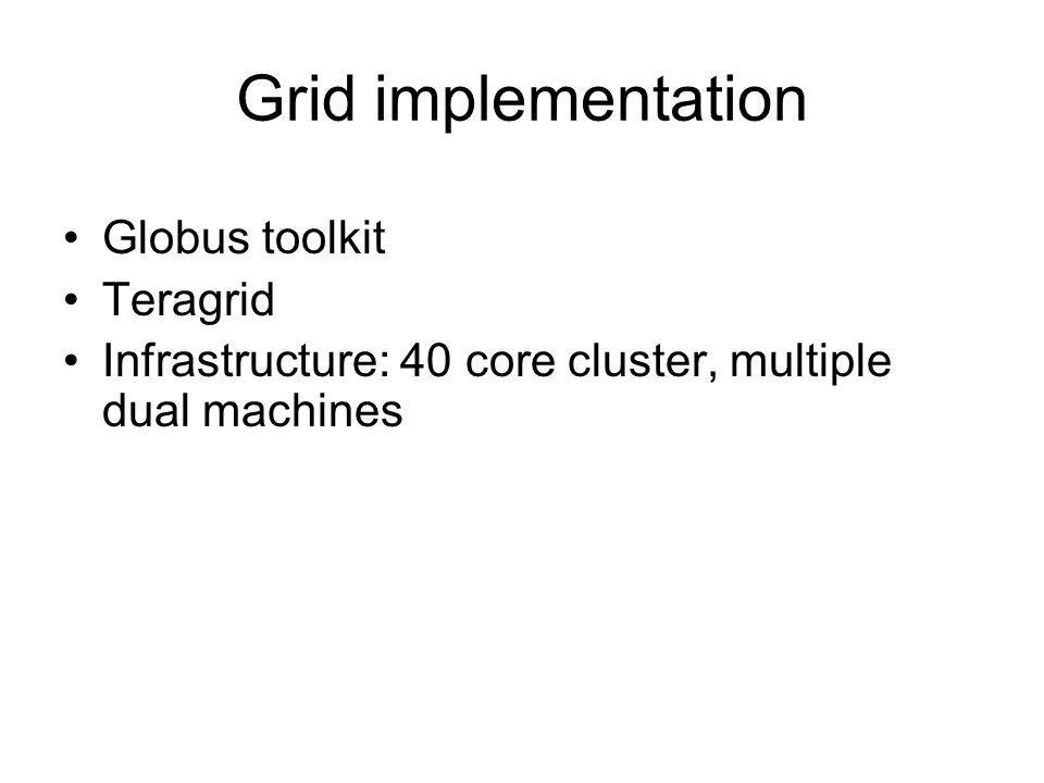 Grid implementation Globus toolkit Teragrid Infrastructure: 40 core cluster, multiple dual machines