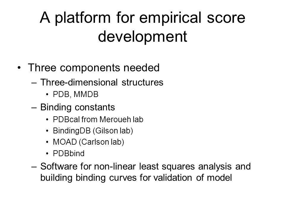 A platform for empirical score development Three components needed –Three-dimensional structures PDB, MMDB –Binding constants PDBcal from Meroueh lab BindingDB (Gilson lab) MOAD (Carlson lab) PDBbind –Software for non-linear least squares analysis and building binding curves for validation of model