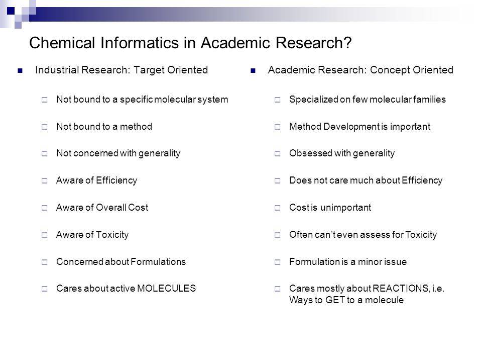 Chemical Informatics in Academic Research? Industrial Research: Target Oriented Not bound to a specific molecular system Not bound to a method Not con