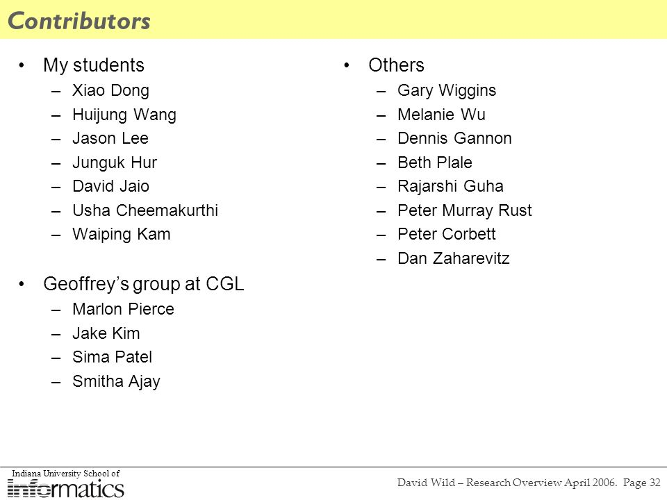 Indiana University School of David Wild – Research Overview April 2006. Page 32 Contributors My students –Xiao Dong –Huijung Wang –Jason Lee –Junguk H