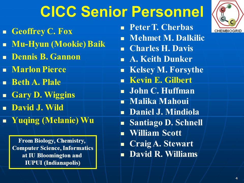 4 CICC Senior Personnel Geoffrey C. Fox Mu-Hyun (Mookie) Baik Dennis B. Gannon Marlon Pierce Beth A. Plale Gary D. Wiggins David J. Wild Yuqing (Melan