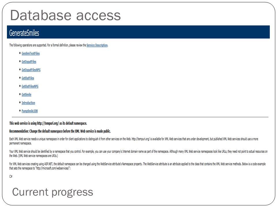 Database access Current progress