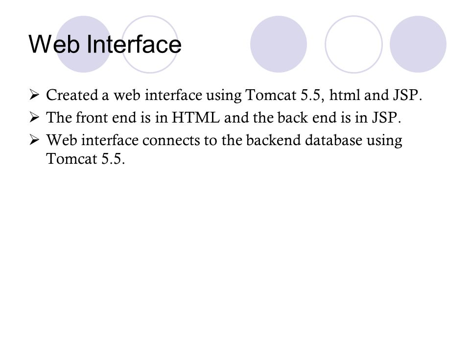 Web Interface Created a web interface using Tomcat 5.5, html and JSP.