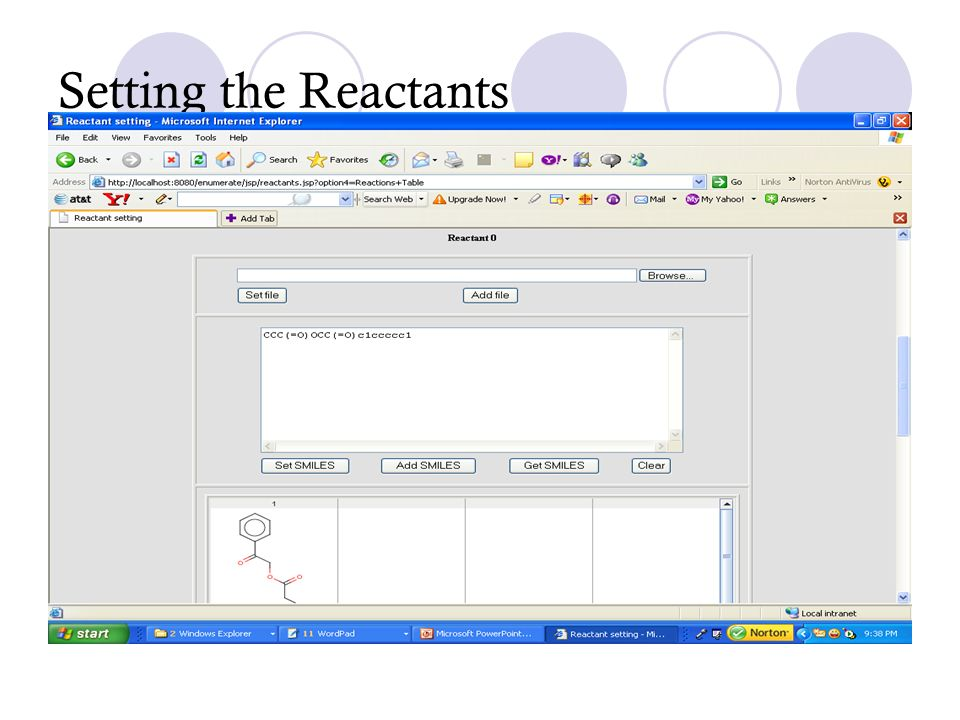 Setting the Reactants