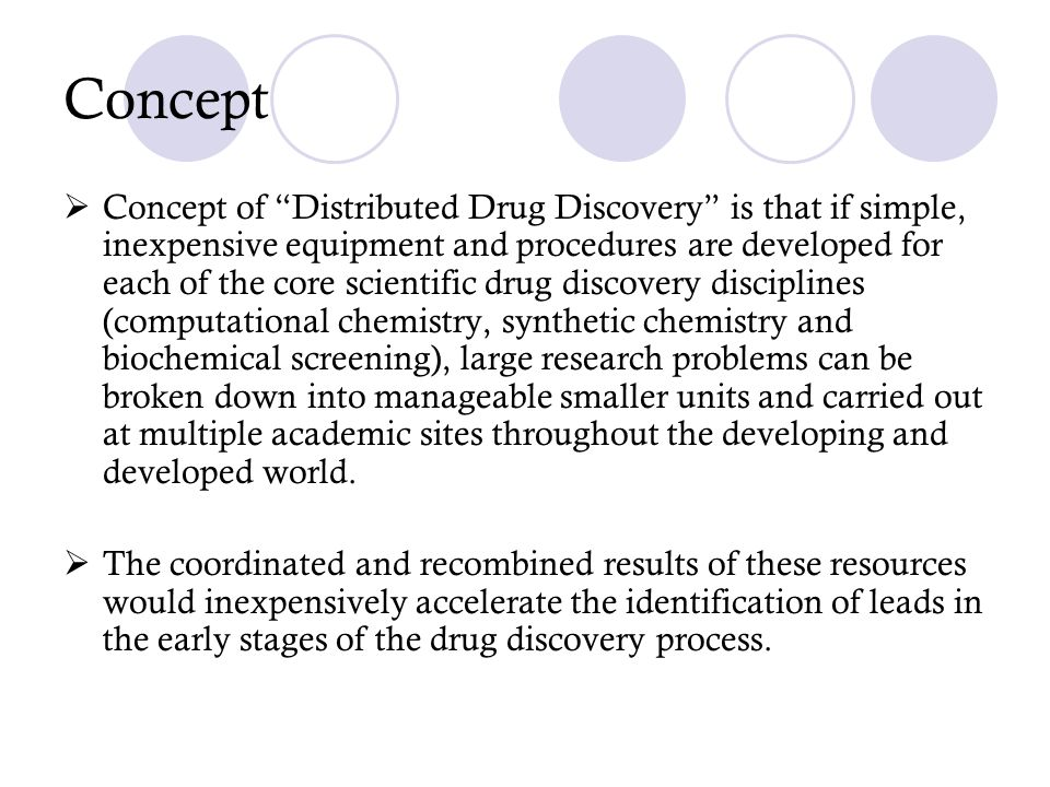 Concept Concept of Distributed Drug Discovery is that if simple, inexpensive equipment and procedures are developed for each of the core scientific drug discovery disciplines (computational chemistry, synthetic chemistry and biochemical screening), large research problems can be broken down into manageable smaller units and carried out at multiple academic sites throughout the developing and developed world.