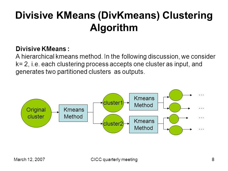 March 12, 2007CICC quarterly meeting8 Divisive KMeans (DivKmeans) Clustering Algorithm Divisive KMeans : A hierarchical kmeans method.
