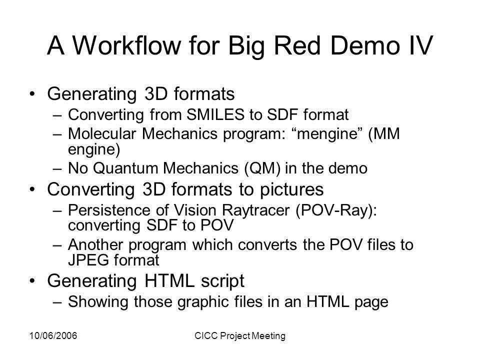 10/06/2006CICC Project Meeting A Workflow for Big Red Demo IV Generating 3D formats –Converting from SMILES to SDF format –Molecular Mechanics program: mengine (MM engine) –No Quantum Mechanics (QM) in the demo Converting 3D formats to pictures –Persistence of Vision Raytracer (POV-Ray): converting SDF to POV –Another program which converts the POV files to JPEG format Generating HTML script –Showing those graphic files in an HTML page