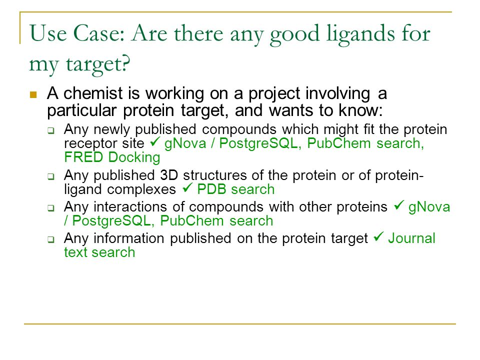Use Case: Are there any good ligands for my target? A chemist is working on a project involving a particular protein target, and wants to know: Any ne