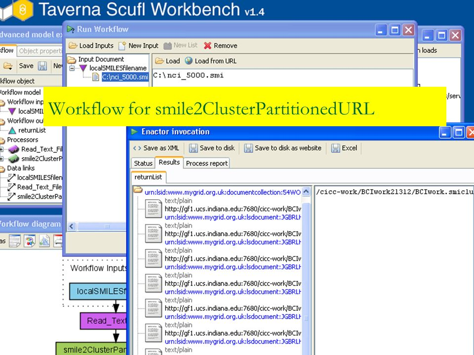 Workflow for smile2ClusterPartitionedURL