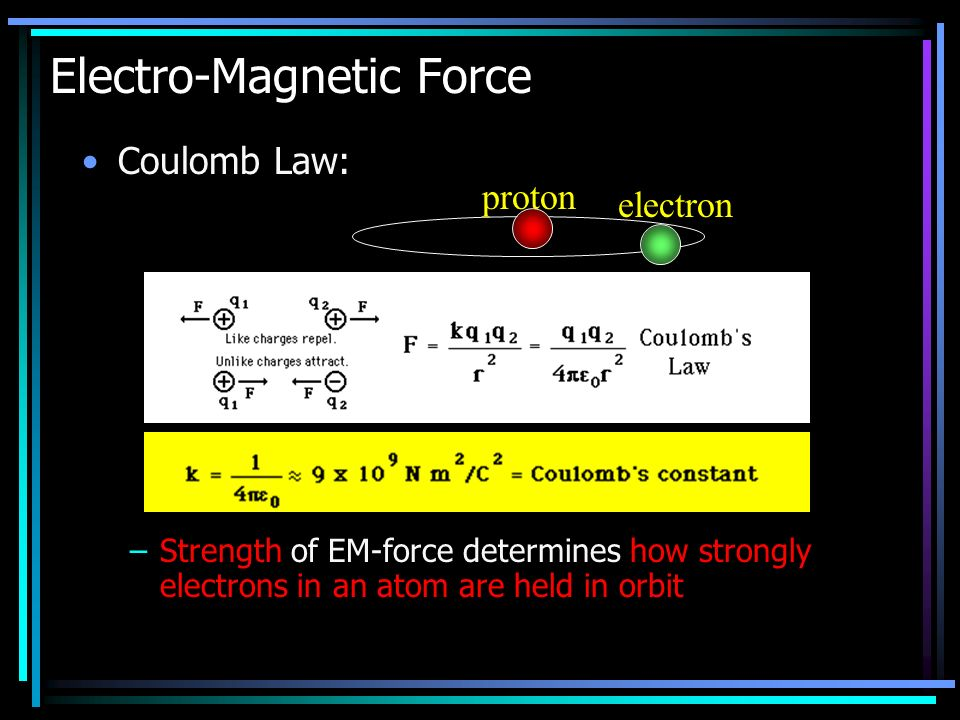 Coulomb Law: –Strength of EM-force determines how strongly electrons in an atom are held in orbit Electro-Magnetic Force proton electron