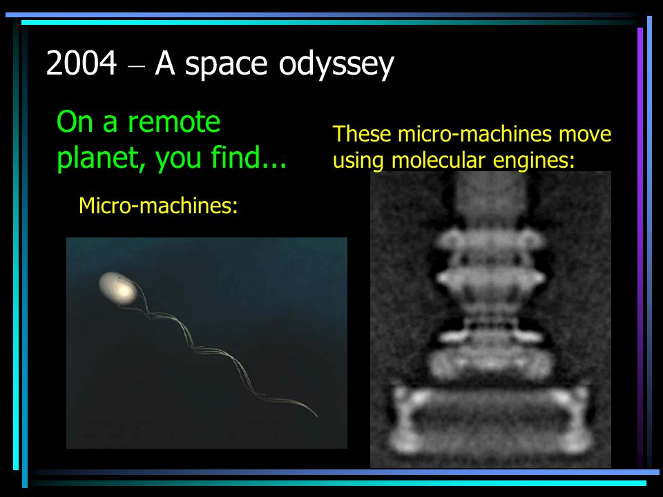 2004 – A space odyssey Micro-machines: These micro-machines move using molecular engines: On a remote planet, you find...