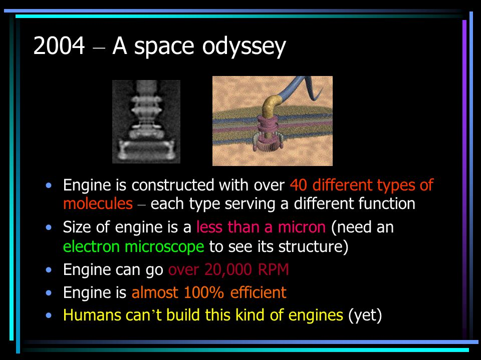 2004 – A space odyssey Engine is constructed with over 40 different types of molecules – each type serving a different function Size of engine is a le