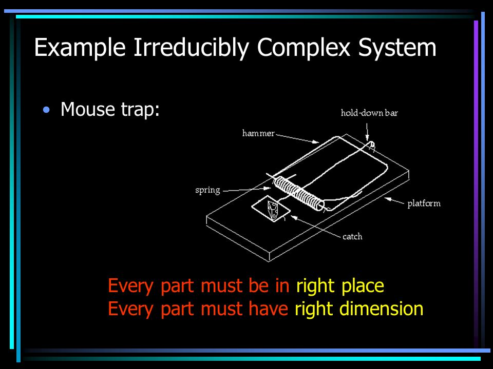 Example Irreducibly Complex System Mouse trap: Every part must be in right place Every part must have right dimension