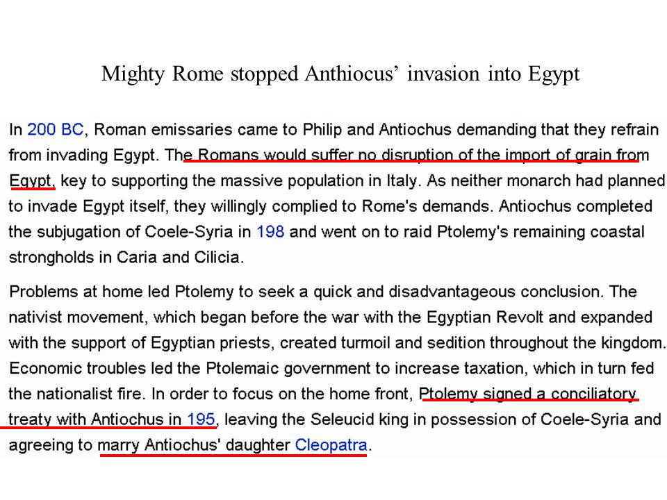 Mighty Rome stopped Anthiocus invasion into Egypt