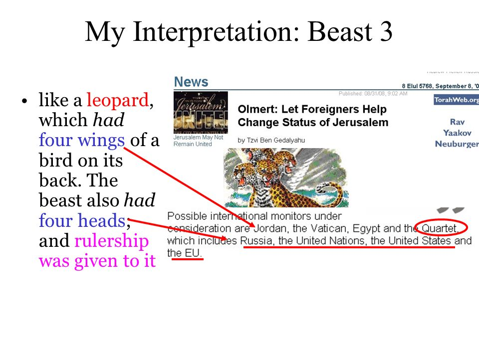 My Interpretation: Beast 3 like a leopard, which had four wings of a bird on its back.