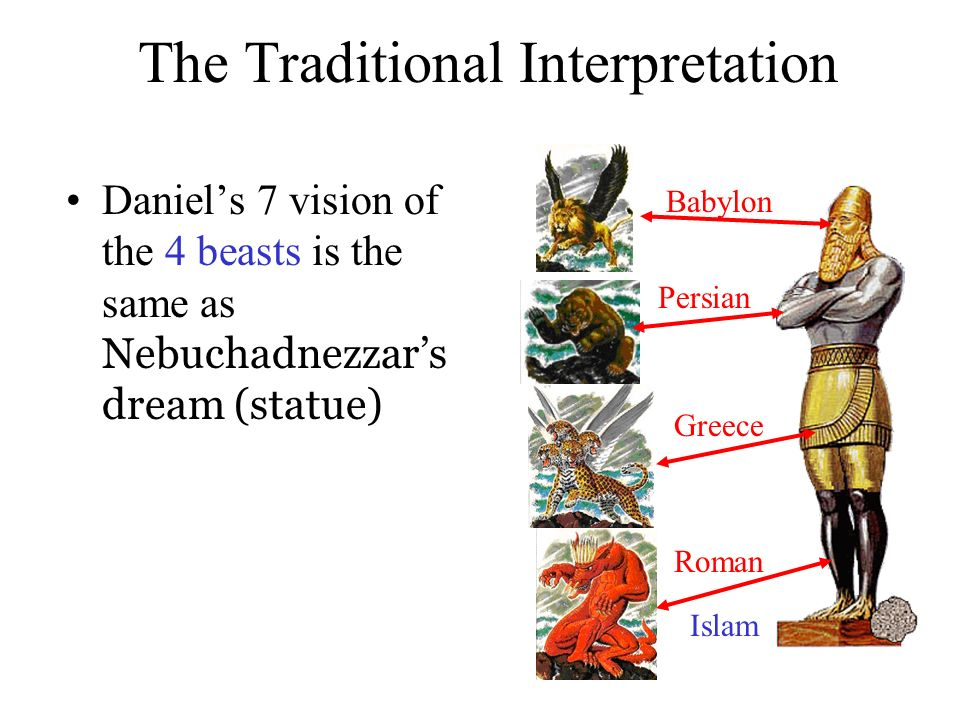 The Traditional Interpretation Daniels 7 vision of the 4 beasts is the same as Nebuchadnezzars dream (statue) Babylon Greece Roman Persian Islam