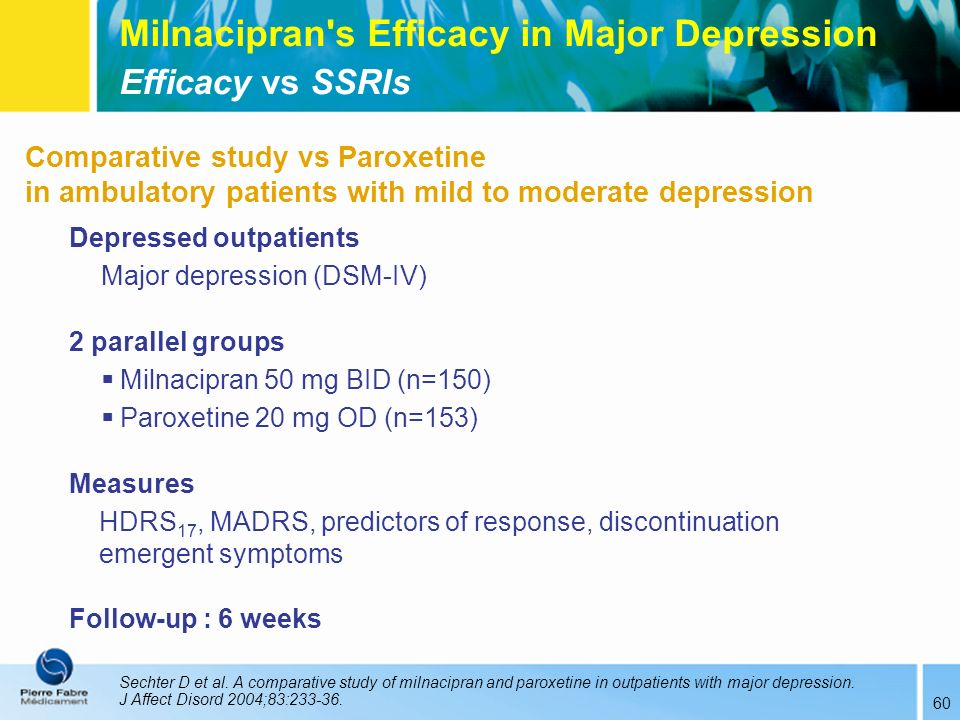 60 Comparative study vs Paroxetine in ambulatory patients with mild to moderate depression Depressed outpatients Major depression (DSM-IV) 2 parallel