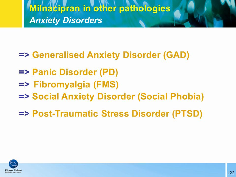 Milnacipran in other pathologies Anxiety Disorders => Generalised Anxiety Disorder (GAD) => Panic Disorder (PD) => Fibromyalgia (FMS) => Social Anxiet