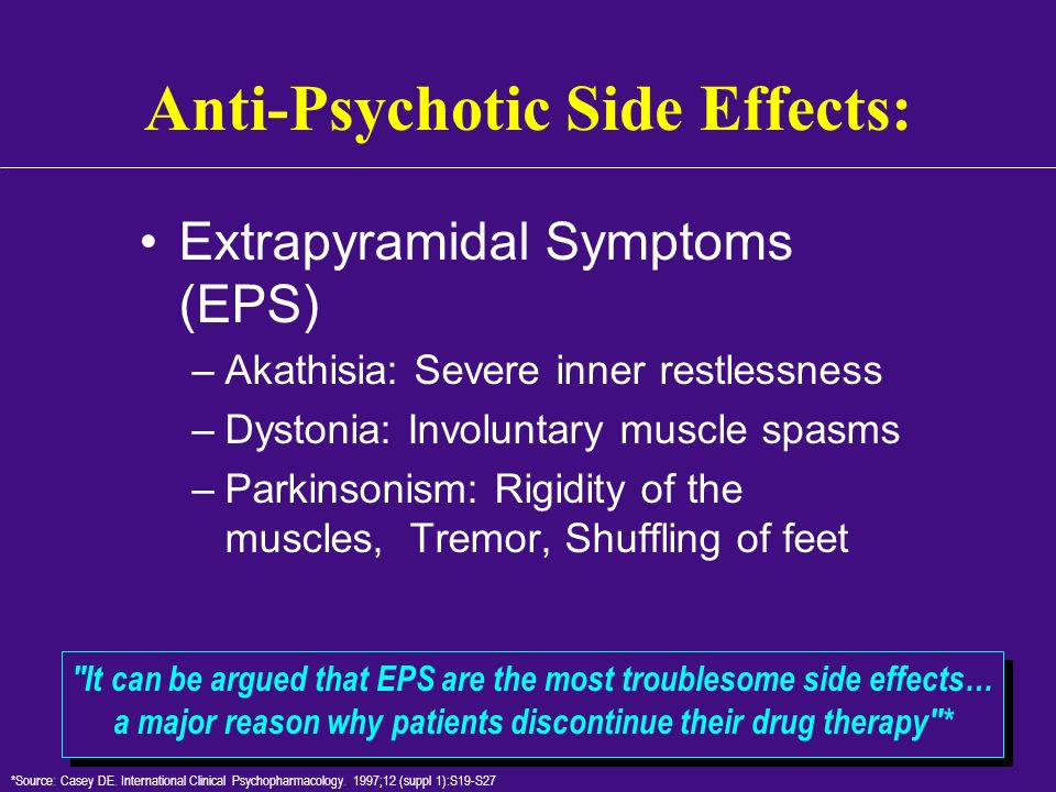 Anti-Psychotic Side Effects: Extrapyramidal Symptoms (EPS) –Akathisia: Severe inner restlessness –Dystonia: Involuntary muscle spasms –Parkinsonism: R