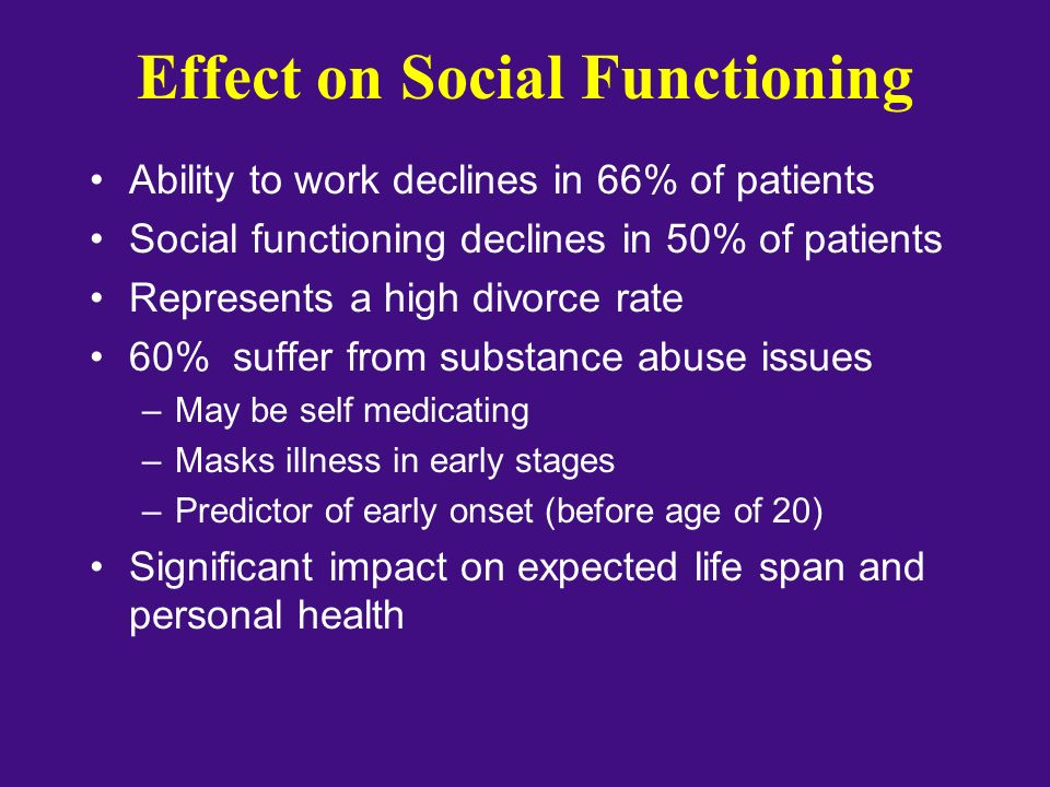 Effect on Social Functioning Ability to work declines in 66% of patients Social functioning declines in 50% of patients Represents a high divorce rate