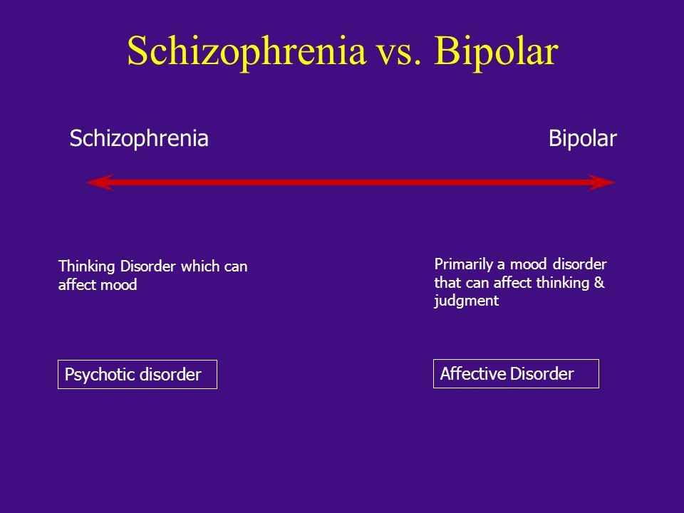Schizophrenia vs. Bipolar SchizophreniaBipolar Thinking Disorder which can affect mood Primarily a mood disorder that can affect thinking & judgment P