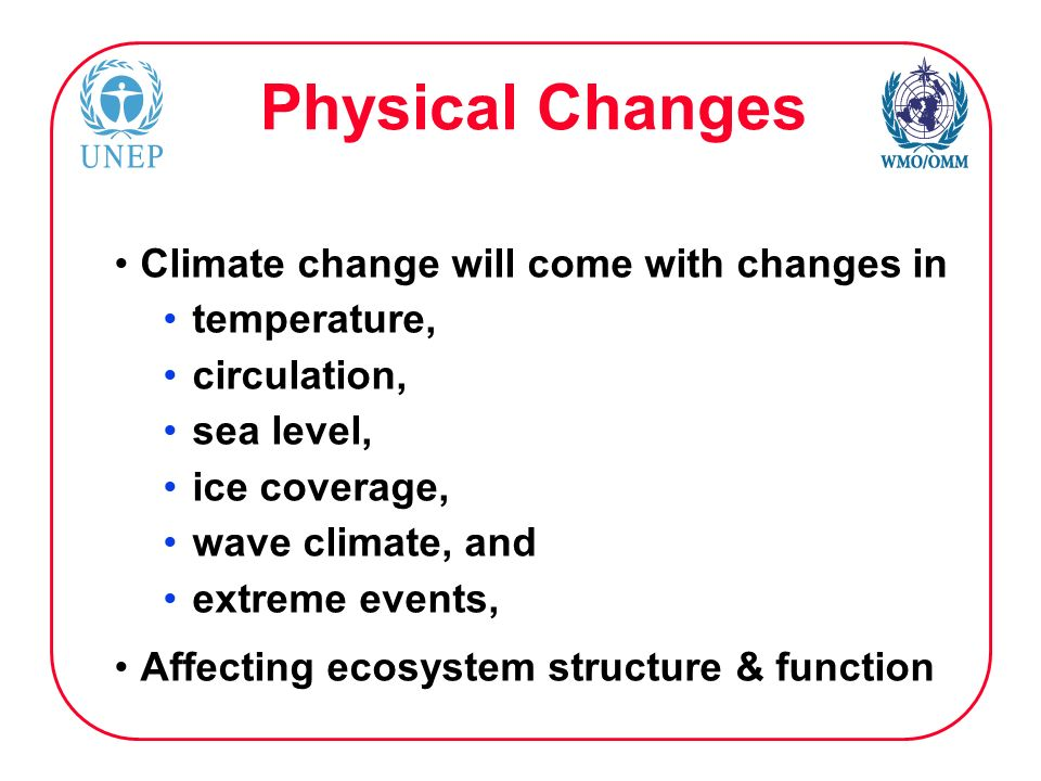 Physical Changes Climate change will come with changes in temperature, circulation, sea level, ice coverage, wave climate, and extreme events, Affecting ecosystem structure & function