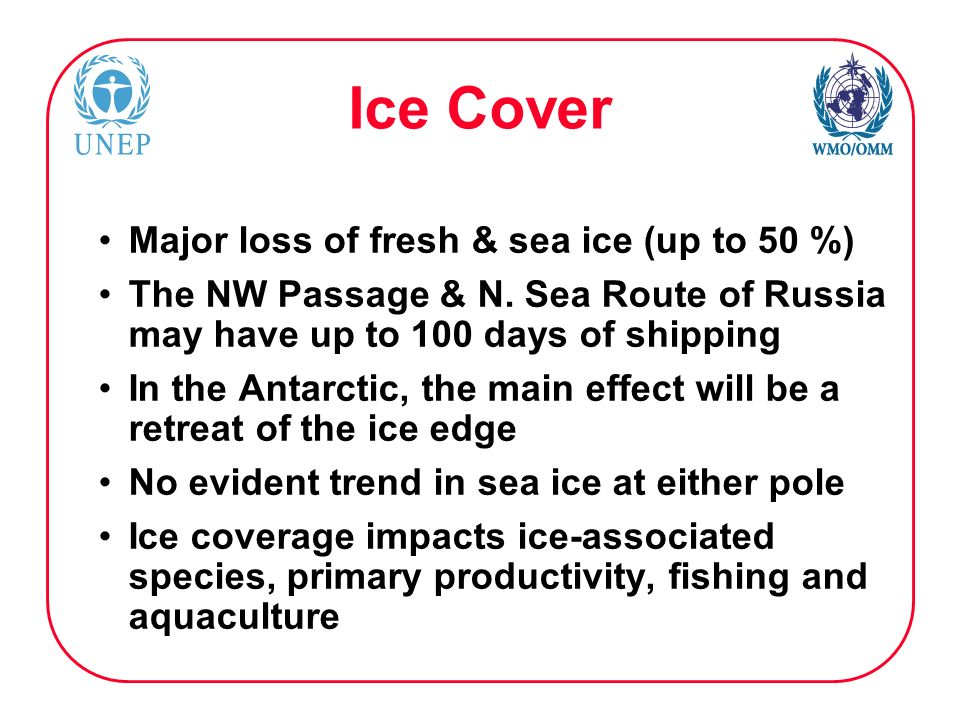 Ice Cover Major loss of fresh & sea ice (up to 50 %) The NW Passage & N. Sea Route of Russia may have up to 100 days of shipping In the Antarctic, the