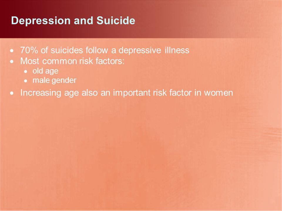 Depression and Suicide 70% of suicides follow a depressive illness Most common risk factors: old age male gender Increasing age also an important risk