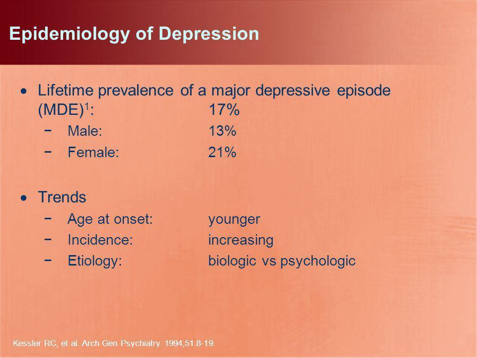 Kessler RC, et al. Arch Gen Psychiatry. 1994;51:8-19. Epidemiology of Depression Lifetime prevalence of a major depressive episode (MDE) 1 : 17% Male:
