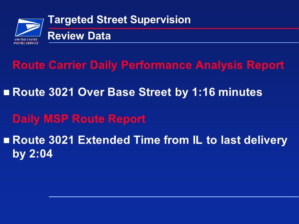 Targeted Street Supervision Review Data Route Carrier Daily Performance Analysis Report Route 3021 Over Base Street by 1:16 minutes Daily MSP Route Report Route 3021 Extended Time from IL to last delivery by 2:04